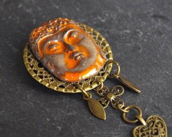 Buddha brooch / Tree of life pin / Zen jewelry