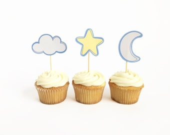 Printable Sky Themed Star Cloud and Moon Cupcake Toppers