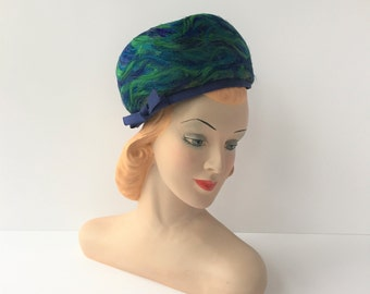 Feather Hat, Vintage Pillbox Hat, Blue and Green Hat, 1950s Women's Hat, Wearable Vintage Formal Hat, Mad Men Hat for Stage or Photo Prop