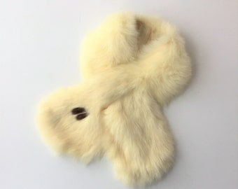Fur Scarf, Vintage Fur Collar, Creamy White Fur, 1960s Fur Scarf, Small Fur, Rabbit Fur Scarf, Girl's Fur