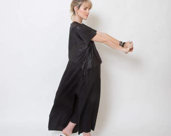 Long back top, black shirt, belted top, faux leather blouse, loose fit top, short sleeve, summer shirt, modern top, draped shirt, kimono top