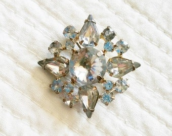 Vintage Cottage Home Rhinestone Adorned Brooch Pin, Olives and Doves