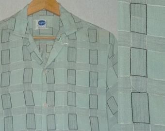 1950s Shirt / M / Rayon / Atomic / Abstract / Rockabilly / Loop Collar / Vintage 1950s Mens Clothing / RnR / Stage / Elvis / VLV / Pilgrim