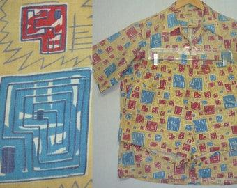 1940s Cabana Set / M - L / 1940s Hawaiian Shirt / Atomic / 1940s Swim Trunks / 1950s Shirt / / Rockabilly / Novelty / 1950s Cabana Set / VLV