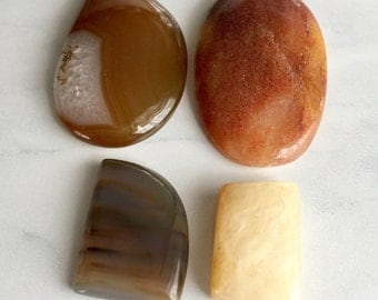 agate stone slab nuggets cabochons smooth polished jewelry destash, lot of 4 pcs