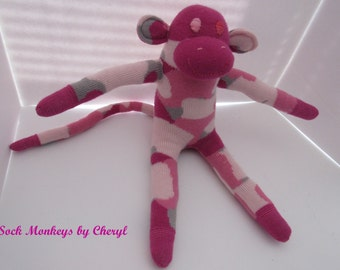Camo Sock Monkey Camouflage Pink Army Soft Doll Handmade