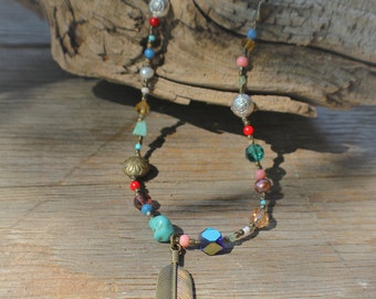 Multi Stone Feather Necklace