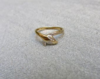 Diamond and 14K Gold Snake Ring