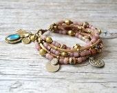 Bohemian bracelet, beaded boho yoga bracelet, hippie gypsy tribal jewelry, gift for her, Valentines Day, multi layer bracelet