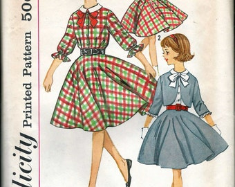 """Vintage  1963 Simplicity 4631 Girl's Skirt, Blouse & Jacket Sewing Pattern Size 10 Breast 28"""""""