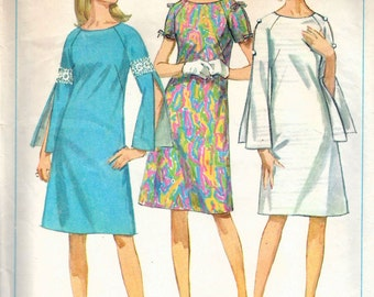 Vintage 1967 Simplicity 7006 Mod One-Piece Dress With Three Sleeves Sewing Pattern Size 12 Bust 32""