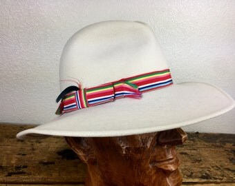 Vintage Soft White Cloth Hat Rainbow Strap