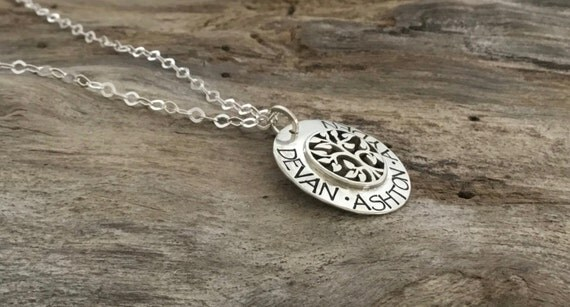 Sterling Silver Tree necklace - Hand Stamped Mom Necklace - Personalized Grandma Name Jewelry