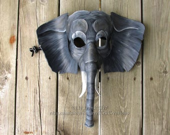 African Elephant Mask, Handmade from tooling leather, Animal Mask, LARP, Theater Prop, Halloween Costume