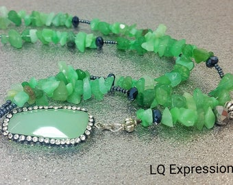 Beaded Lanyard ID Badge Aventurine Gemstone - Gift Nurse Teacher Student - Flexible durable and beautiful work Jewelry LQ Expressions