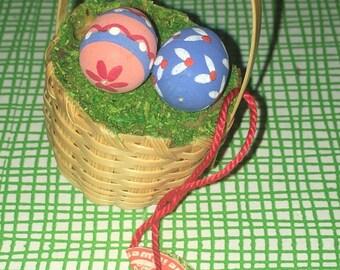 Handmade Wood Miniature Easter Egg Basket Christian Ulbricht Collectible Wood Easter Ornament