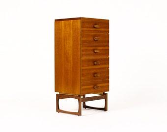 Danish Modern / Mid Century Teak Upright Dresser — 6 Drawer — G-Plan — Sled Base
