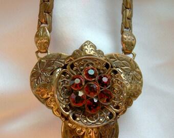 Ruby Wine Red Rhinestone Choker Pendant Necklace | Vintage Antique Circa 1900-1925