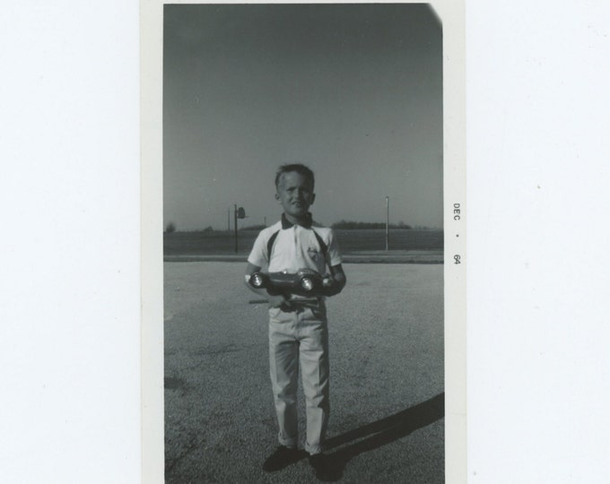 Vintage Snapshot Photo: Boy with Toy Race Car, 1964 (611520)