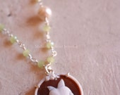 ALICE Necklace-925 sterling silver necklace with authentic shell cameo with rabbit-rosary chain with prehnite and freshwater pearls