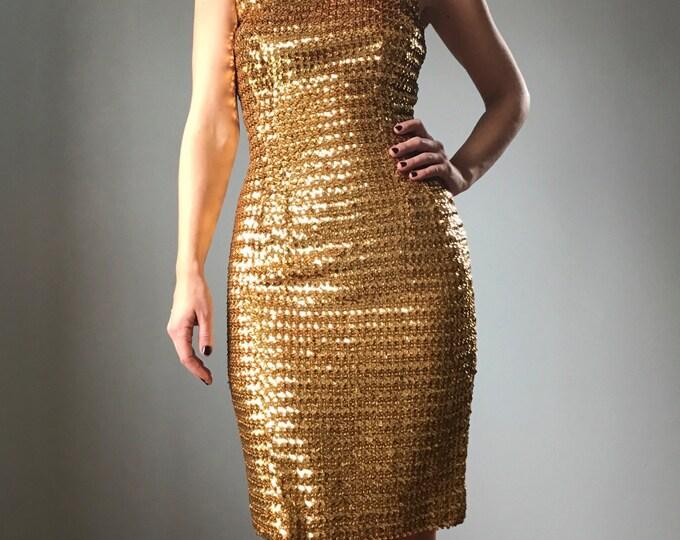Vintage 50s Sequin Gold Wiggle Dress