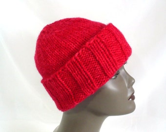 Bright Red Watchcap or Slouchy Beanie - Man's or Woman's Hand Knit Winter Hat, Chunky Knit Convertible Hat, Handmade in USA, Ready to Ship