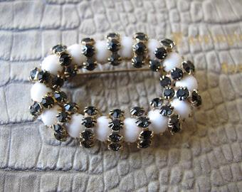 Black Rhinestone & White Milk Glass Brooch Pin, Scarf Holder. Black White Fashion Jewelry.Scarf Pin Stay. Circle Pin.Glass Crystal Stones