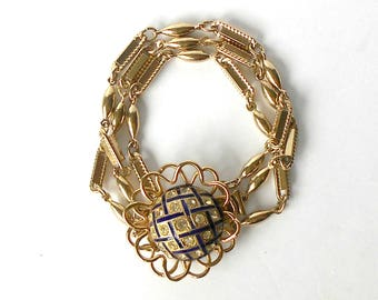 Vintage Bracelet Coro Pegasus Cobalt Blue Enamel Clear Rhinestones Pale Gold Tone RARE