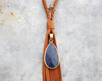 Braided Leather Necklace - Leather Tassel Necklace - Leather Pendant Necklace - Long Leather Necklace
