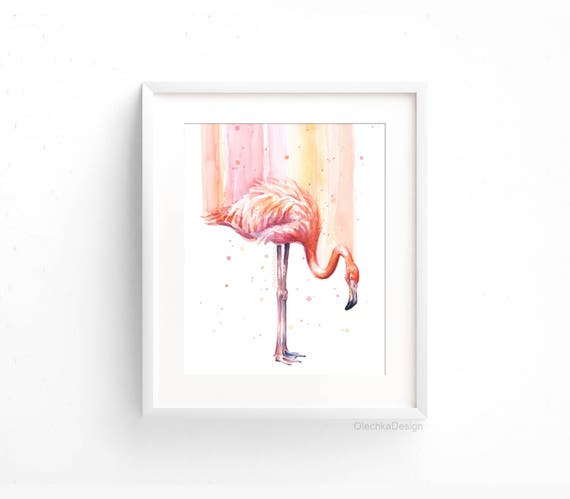 Flamingo Watercolor Flamingo Wall Art Pink Rain Tropical Bird