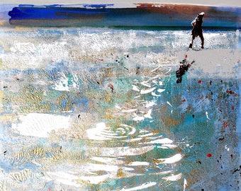 "Canvas ART PRINT of woman walking on beach - ""Quiet Walk"" by Melanie McDonald - print of painting - wall art - canvas art or paper art print"