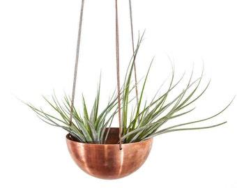 Summer Sale! Small hanging planter/ hand spun copper or brass bowl/ Modern Planter / Plant Hanger / Air Plant Hanger/ Minimalist Home Decor