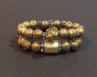 Gold bead bracelets,  Druzy  bracelets, beaded stretch bracelets, beaded bracelets, agate bracelets, Druzy jewelry