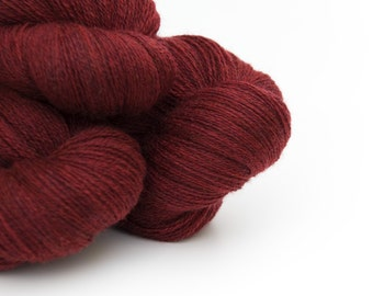 Remake: Reclaimed Laceweight Merino Yarn LOT, Deep Red, 2200 Yards