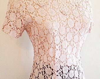 Vintage Mid Century Lace Blouse or Top Size Small