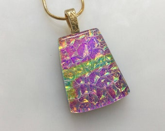 Dichroic Glass Pendant, Fused Glass Jewelry, Purple Fuchsia Gold Dichroic Necklace