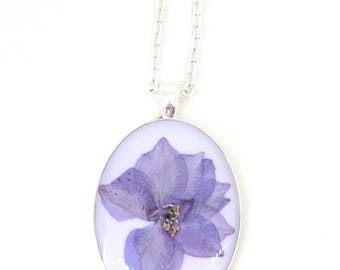 Purple Larkspur Resin Pendant Necklace - Real purple flower in oval silver tone bezel, Pressed Flower Jewelry - Resin Jewelry - Gift for Her