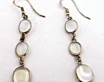 Edwardian Luminous Cabochon Genuine Blue Moonstone Pierced Earrings Bezel Set In Sterling Silver