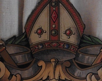 French Vintage,  Rare Church Banner , French Crown, Shabby Chic, Rare French Antiques, Church Banner, Church Shield.