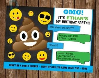 Emoji birthday invitation - Teen Birthday Invitation -  Smiley Face Birthday Party - Emoji Invite  - Smiley Face Birthday - Emoji Invitation