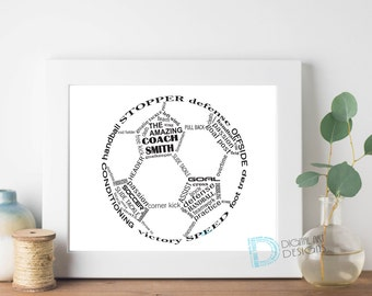 Soccer Coach Gift - Soccer Coach Thank You Gift - Soccer Gift - Soccer Thank You Print - Soccer Word Art - Soccer Player *Digital File*