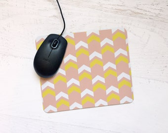 Tribal Arrow Mousepad in Grapefruit Pink, Lemon Yellow, & White - Chic, Modern, Gift, for Home, Office, Apartment Dorm - Pick Your Color
