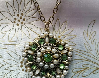 Vintage Repurposed Necklace Pendant Antique-Gold-Tone, Swarovksi Elements, White Pearls & Peridot Rhinestones