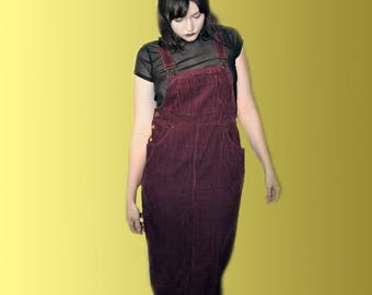 90s Maroon Corduroy Overall Dress
