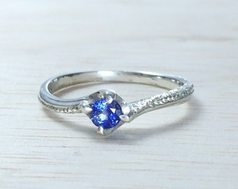 Dainty engagement ring Sapphire solitaire engagement ring Blue sapphire ring