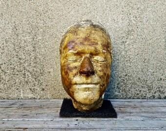 Antique Post Mortem Artist Rendered Plaster Death Mask