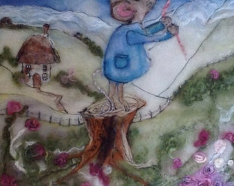 "Fantasy Mouse Wall Hanging Needle Felted Wall Art Handmade UK - ""Baby Mouse Flies her Balloon"""