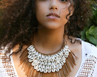 Boho Cowrie Shells Statement Necklace