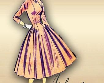 1950s Designer Dress Pattern by Madeleine Fauth Princess Seams Full Skirt Low Waistline Surplice Neckline Sleeve Options  Advance 6826