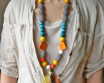 Extra long beaded necklace Colorful funky necklace with handmade tassel and large beads Statement necklace Orange and Blue long fun necklace